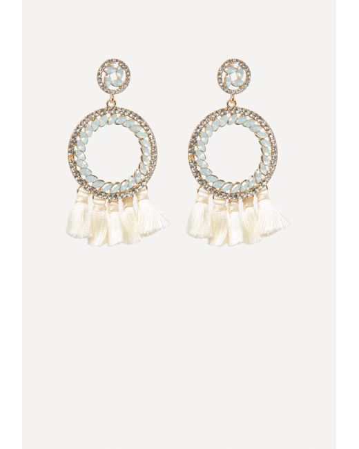 Bebe - Metallic Tassel Hoop Earrings - Lyst