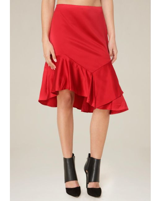 Bebe - Red Asymmetric Ruffle Skirt - Lyst