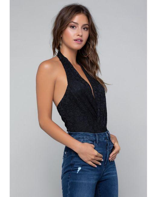 Bebe - Black Lace Wrap Bodysuit - Lyst