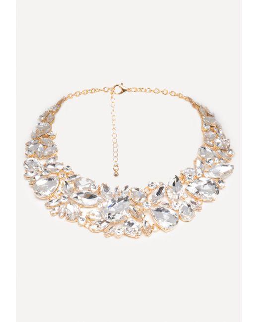 Bebe - Metallic Crystal Statement Necklace - Lyst