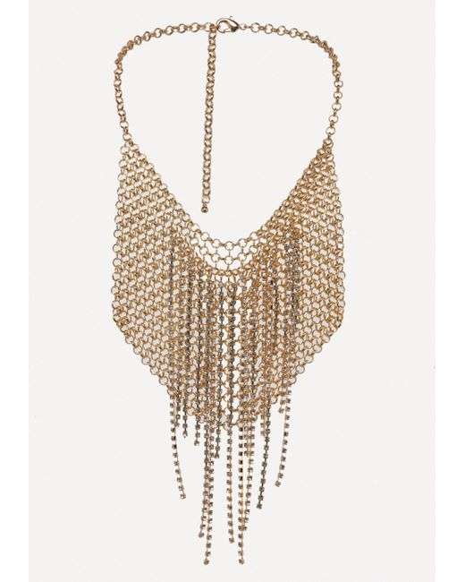 Bebe | Metallic Chainmail Bib Necklace | Lyst