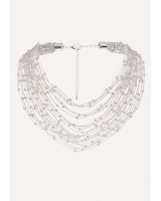 Bebe - Metallic Chain & Bead Necklace - Lyst