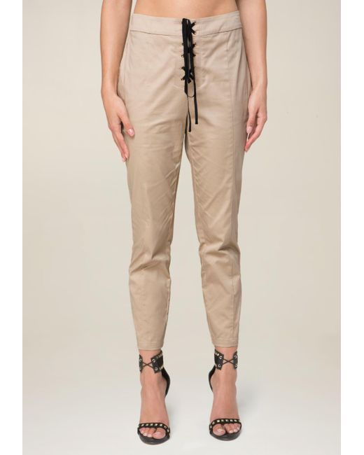 Bebe - Natural Front Lace Up Crop Pants - Lyst