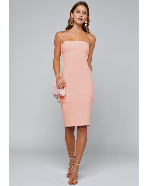 Bebe - Pink Strapless Midi Dress - Lyst