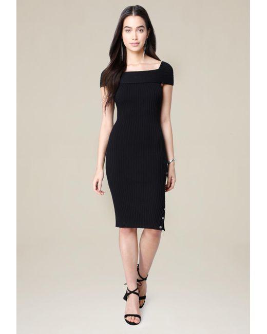 Bebe | Black Danny Ribbed Dress | Lyst