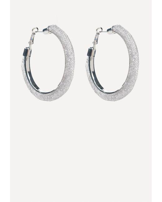 Bebe | Metallic Crystal Wide Hoop Earrings | Lyst
