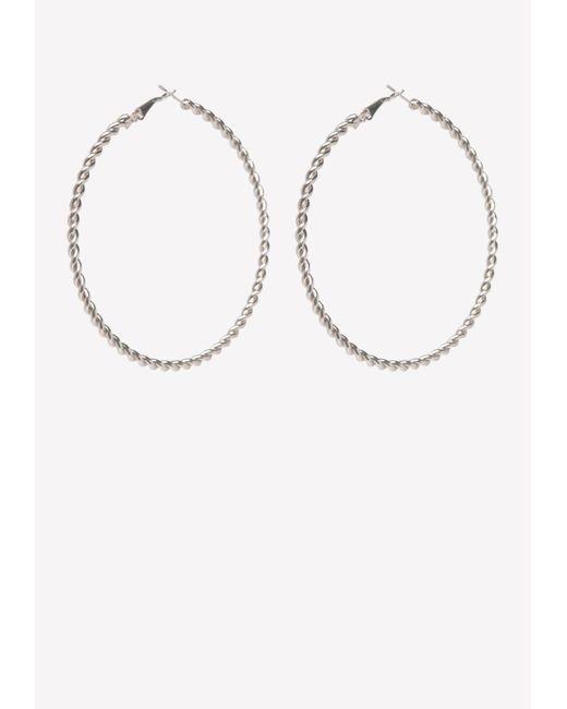Bebe - Metallic Silver Twist Hoop Earrings - Lyst