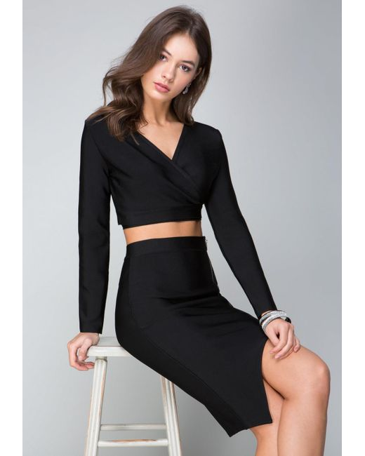 Bebe - Black Becca Wrap Crop Top - Lyst