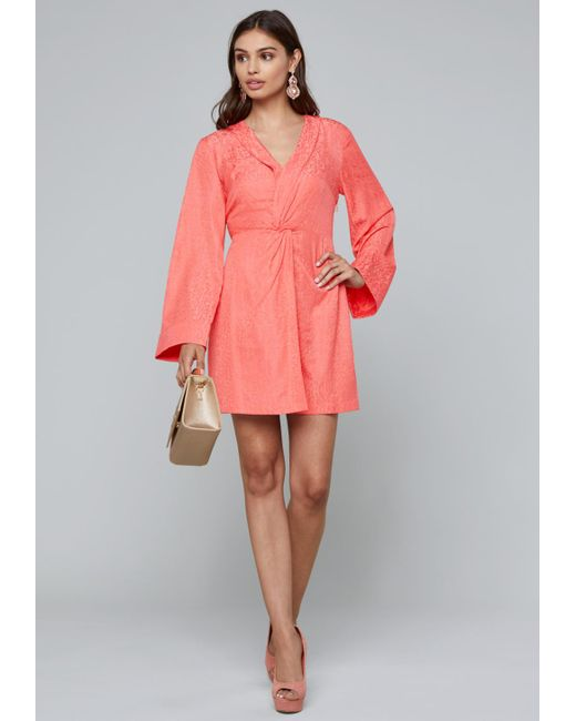 Bebe - Pink Leo Twist Front Dress - Lyst