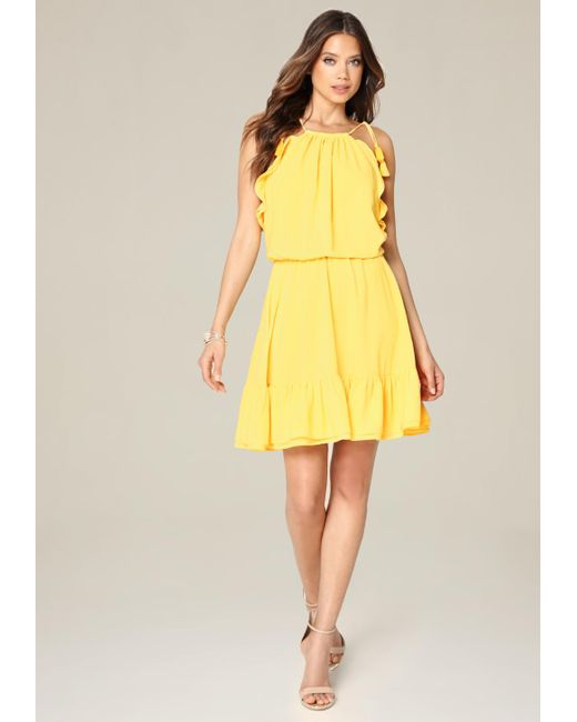 Bebe | Yellow Blouson Halter Look Dress | Lyst