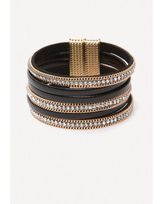 Bebe | Metallic Crystal & Faux Leather Cuff | Lyst