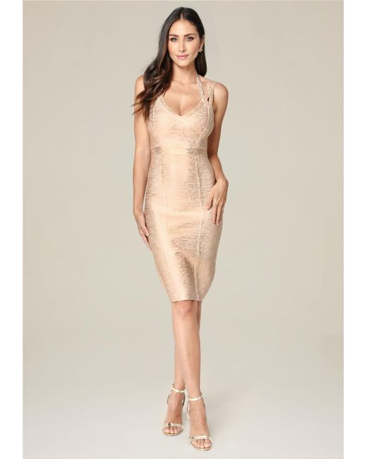 Bebe   Multicolor 3-strap Foil Knit Dress   Lyst