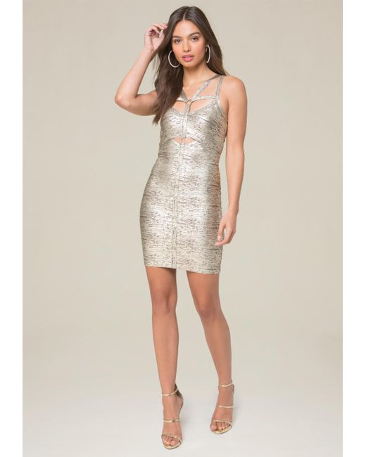 Bebe | Multicolor Angelica Foil Harness Dress | Lyst