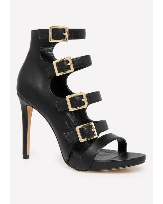 687c7701e63 Bebe - Black Lylaa Buckle Strap Sandals - Lyst ...