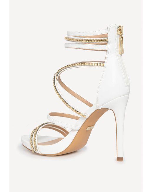 327c4f57a4b ... Lyst Bebe - White Bettyy Braid   Stud Strappy Sandals ...