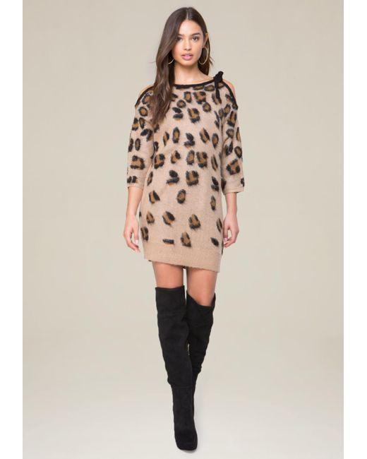 Bebe | Multicolor Brushed Leopard Dress | Lyst
