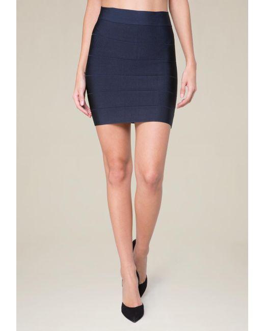 Bebe - Blue Solid Bandage Skirt - Lyst