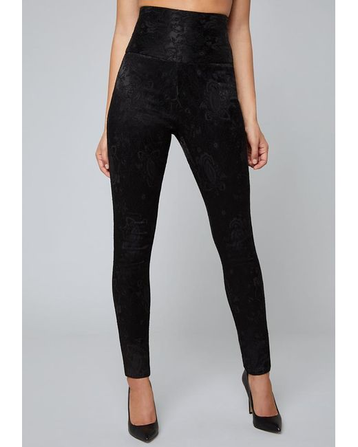 703b8580f0 Bebe - Black Selma Jacquard Skinny Pants - Lyst ...