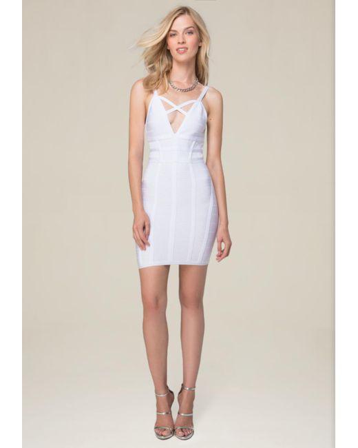 Bebe | White Crossfront Bandage Dress | Lyst