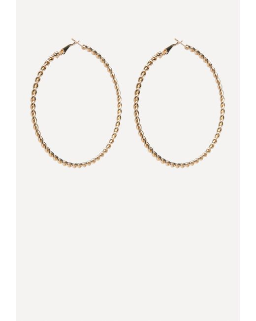 Bebe - Metallic Gold Twist Hoop Earrings - Lyst