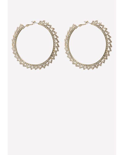 Bebe - Metallic Clear Crystal Hoop Earrings - Lyst