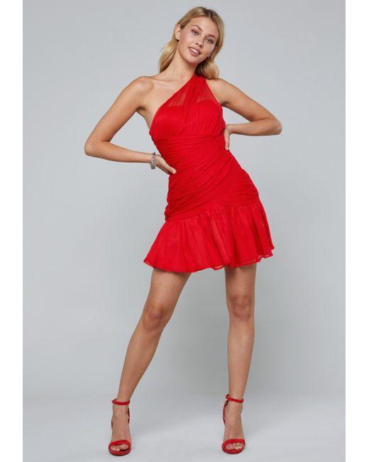 Bebe - Red One Shoulder Dress - Lyst