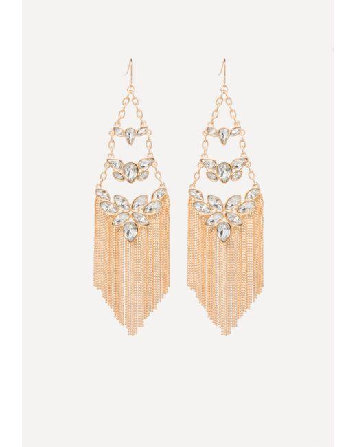 Bebe - Metallic Fringe Crystal Earrings - Lyst