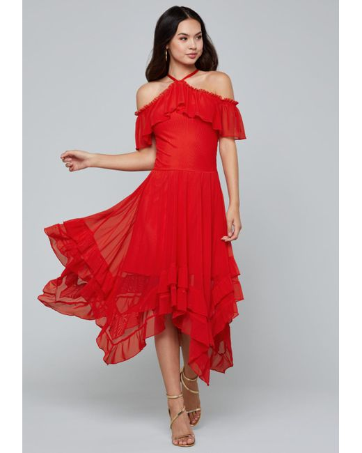 Bebe - Red Ruffled Hanky Hem Dress - Lyst