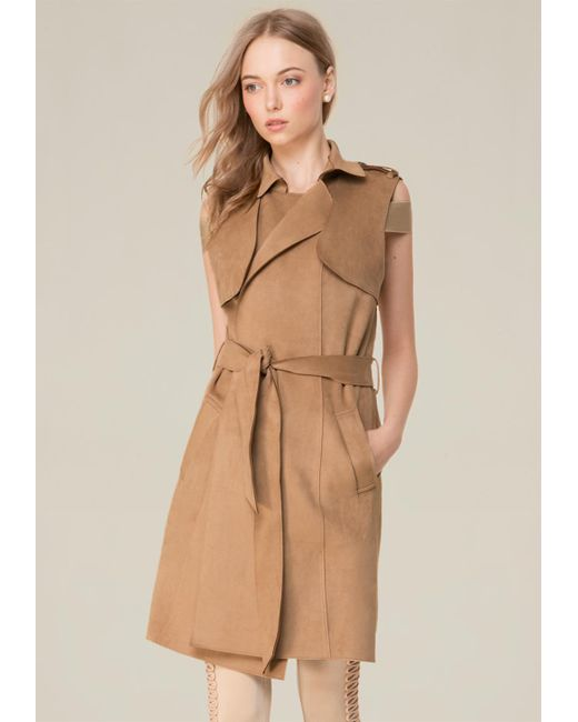 Bebe | Brown Faux Suede Trench Coat | Lyst