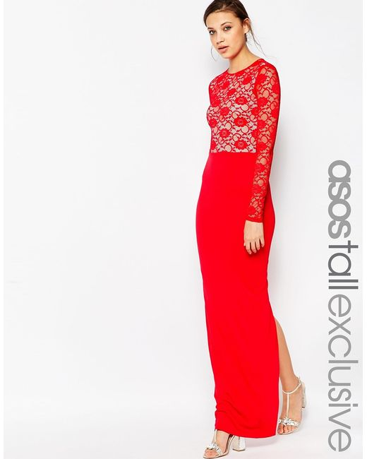 ASOS | Red Soft Lace Top Maxi Dress | Lyst