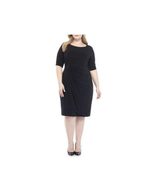 Lyst Connected Apparel Plus Size Matte Jersey Wrap Dress In Blue