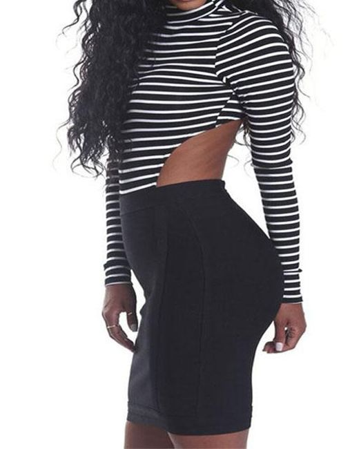 37c5aafef01c Belle lily Striped Backless Turtleneck Sexy Jumpsuit in Black