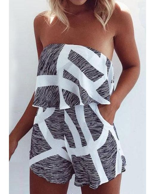 2994496aea4b Belle lily Striped Strapless Sexy Romper in Black