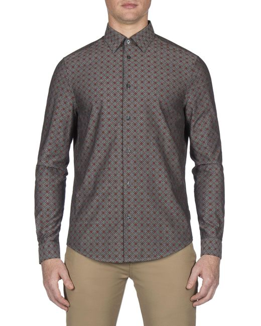 Ben Sherman Gray Brown Long Sleeve Chambray Retro Spot Shirt for men