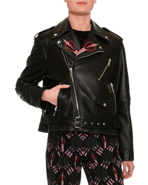 Valentino | Black Love Blade Embroidered Leather Moto Jacket | Lyst