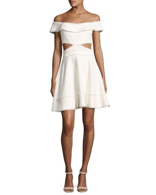 Cinq À Sept | White Vanessa Off-the-shoulder Fringe-trim Party Dress | Lyst
