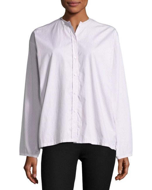 Joseph albane collarless striped cotton button down shirt for Red and white striped button down shirt