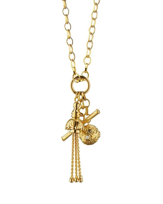 Monica Rich Kosann - Metallic 18k Gold Tassel/toggle/ball Charm Necklace - Lyst