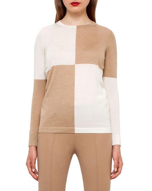 Akris   Natural Colorblock Crewneck Sweater   Lyst
