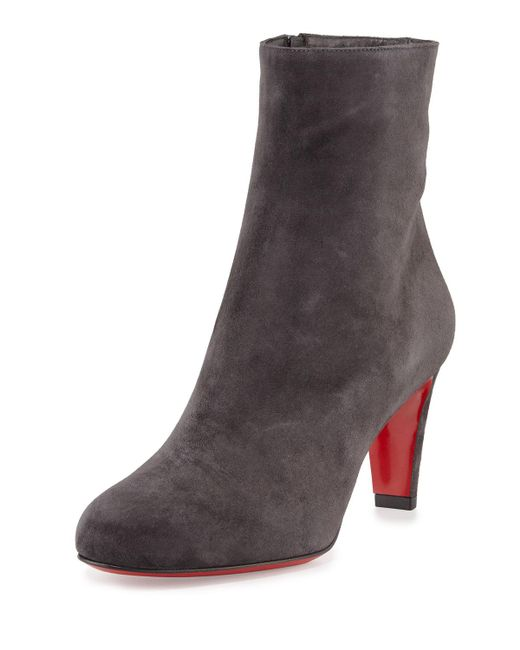 Christian Louboutin | Black Top Suede Ankle Boots | Lyst