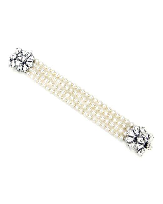 Ben-Amun Metallic Four-row Pearly Beaded Fan-motif Bracelet