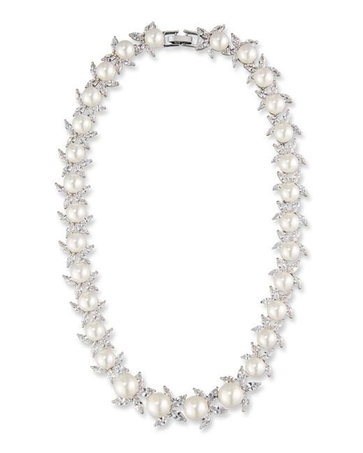 Fallon | Metallic Monarch Crystal & Pearly Bead Choker Necklace | Lyst