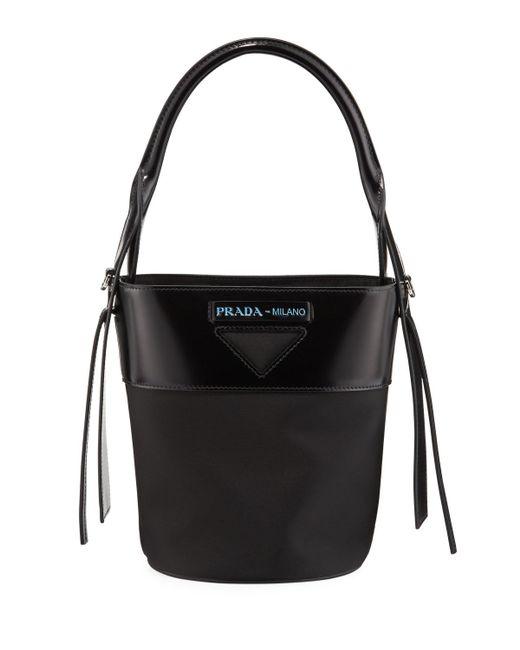 79f151d578fb Prada - Black Ouverture Tessuto Bucket Bag - Lyst ...
