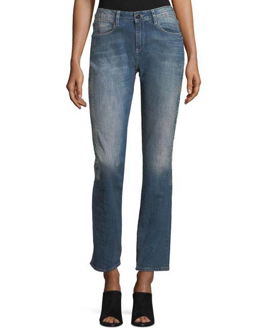Brockenbow - Blue Stardust Beaded Straight-leg Cropped Boyfriend Jeans - Lyst