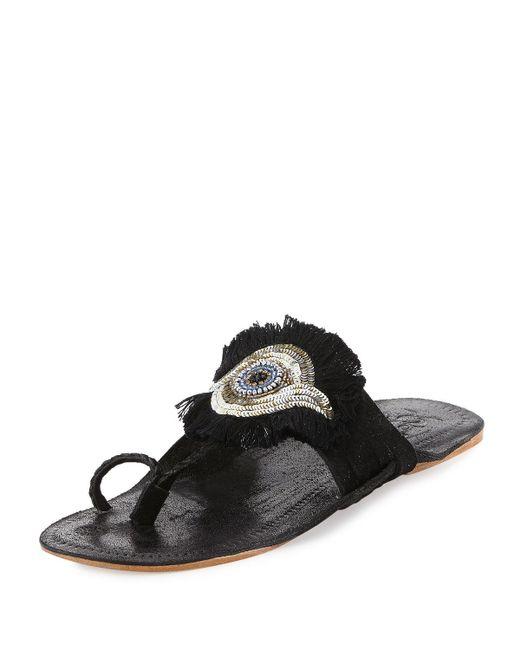 Figue - Black Evil Eye Medallion Flat Slide Sandal - Lyst