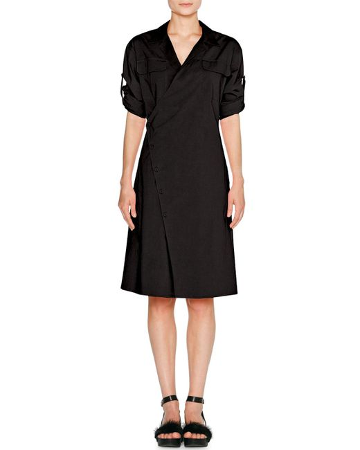 Tomas Maier - Black Sporty Poplin Wrap Dress - Lyst