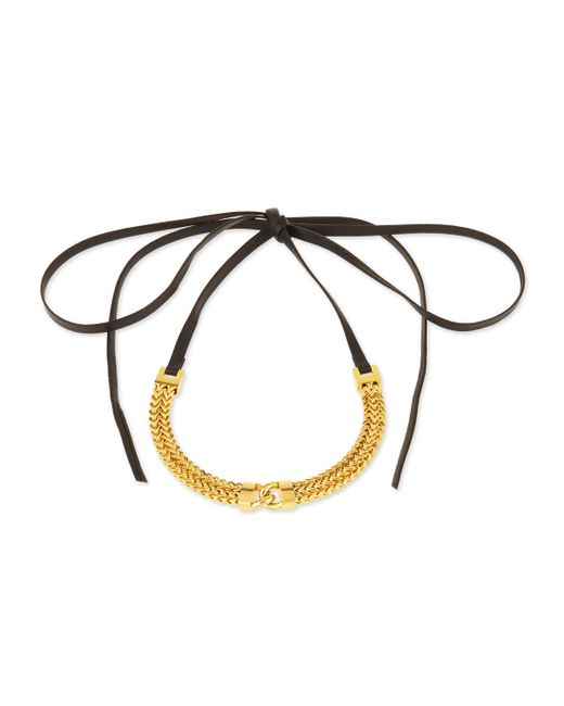 Fallon | Metallic Link-front Leather Choker Necklace | Lyst