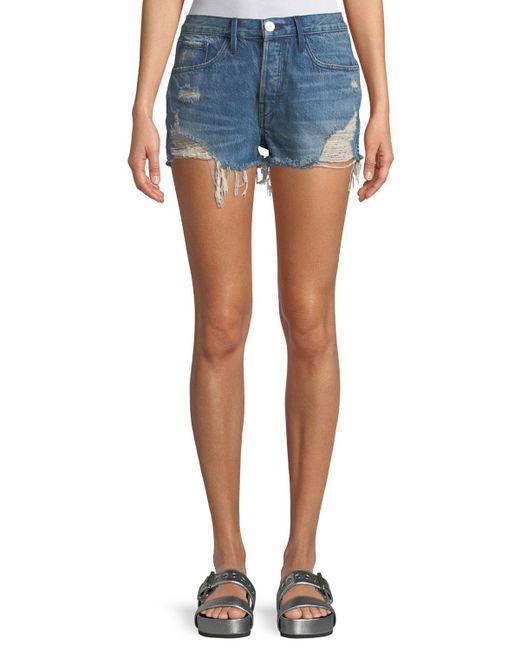 3x1 - Blue W4 Carter Distressed Denim Cutoff Shorts - Lyst