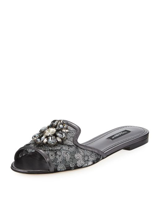 Dolce & Gabbana - Gray Jeweled Lace Mule Slide Sandal - Lyst