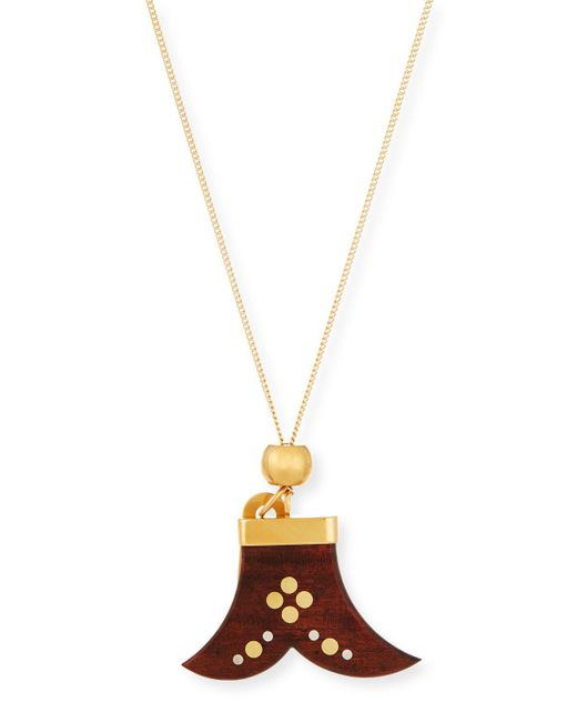 Chloé - Brown Janis Wooden Pendant Necklace - Lyst